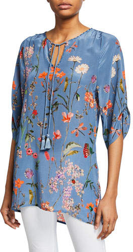 Tolani Aurora Floral-Print 3/4-Sleeve Long Silk Tunic