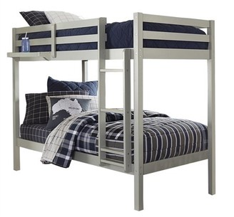Hillsdale Furniture Hillsdale Caspian Bunk Bed Twin Over Twin Bunk with Hanging Nightstand Tray, Gray