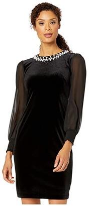 Tahari ASL Illusion Sleeve Velvet Cocktail Dress with Pearl Necklace Embellishment Detail