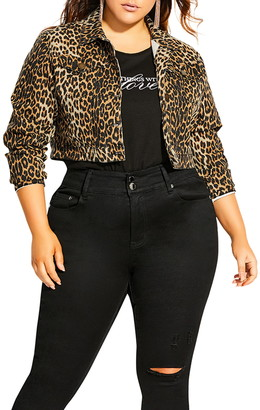 City Chic Animal Spot Denim Jacket