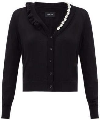 Simone Rocha Embellished And Ruffled Wool-blend Cardigan - Black