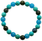 Macy's Faceted Bead Blue and Black Stone Stretch Bracelet