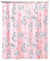 Circo Kitty Shower Curtain - True White/Fun Pink/Pom Pom Pink