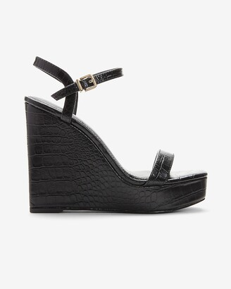 Express Croc-Embossed Square Toe Platform Wedges