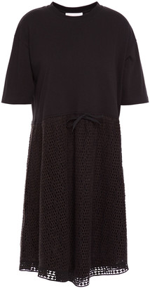 See by Chloe Asymmetric Cotton-jersey And Open-knit Dress