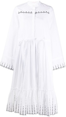 See by Chloe Broderie-Trimmed Poplin Dress