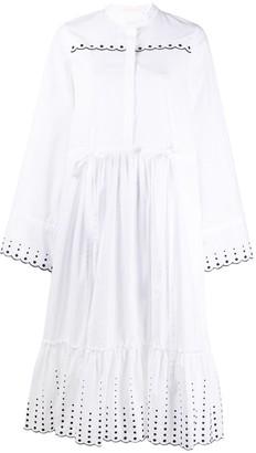 See by Chloe broderie-trimmed poplin dress