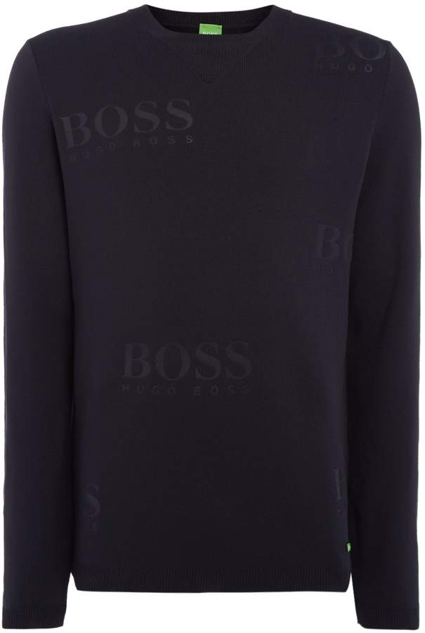 HUGO BOSS Men's Rhett all over logo jumper