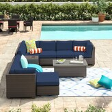 Tegan 10 Piece Sectional Seating Group with Cushions Sol 72 Outdoor Cushion Color: Navy