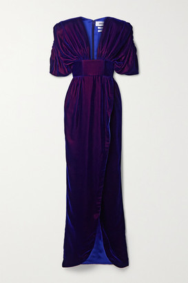 Christopher John Rogers Gathered Iridescent Velvet Gown - Royal blue