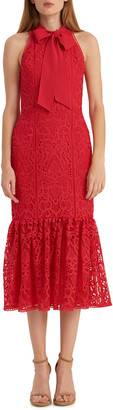 ML Monique Lhuillier Lace Fit-&-Flare Halter Dress