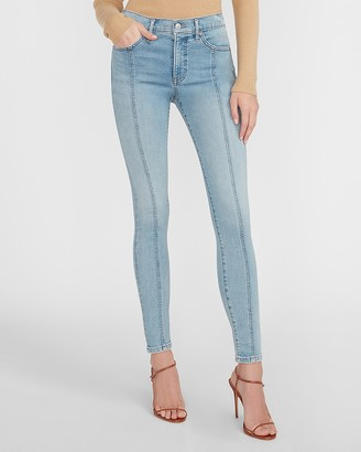 Express Mid Rise Supersoft Seamed Skinny Jeans