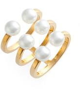 Rebecca Minkoff Open Imitation Pearl Ring - Size 7