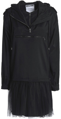 Moschino Layered Tulle And Shelle Hooded Mini Dress
