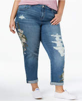 Style&Co. Style & Co Plus Size Embroidered Distressed Boyfriend Ankle Jeans, Created for Macy's