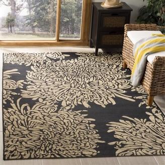 "Martha Stewart Chrysanthemum Black/Beige Area Rug Rug Size: Rectangle 5'3"" x 7'7"""