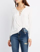 Charlotte Russe Lace-Up V-Neck Tee