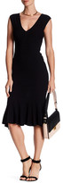 Jay Godfrey Knit Deep V Flounce Hem Midi Dress