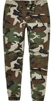River Island Mens Green camo print tapered joggers