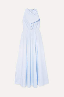 Arias ARIAS - Draped Striped Cotton-poplin Maxi Dress - Blue