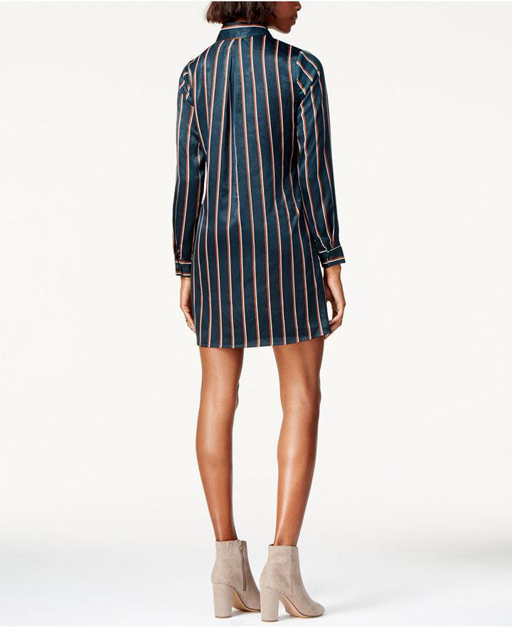 J.o.a. Striped Tie-Front Shirtdress