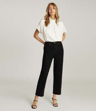 Reiss Annie - High Rise Straight Leg Jeans in Black