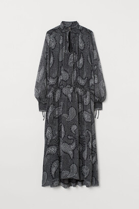 H&M Long Balloon-sleeved Dress - Black