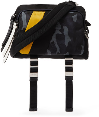 Prada Leather-Trimmed Camouflage-Print Nylon Messenger Bag