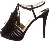 Christian Louboutin Fringe-Embellished T-Strap Sandals