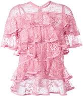 Elie Saab ruffled lace blouse - women - Silk/Nylon/Polyamide/Polyester - 38