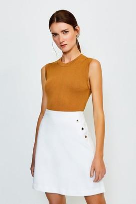 Karen Millen Button Detail Cotton Sateen A Line Skirt