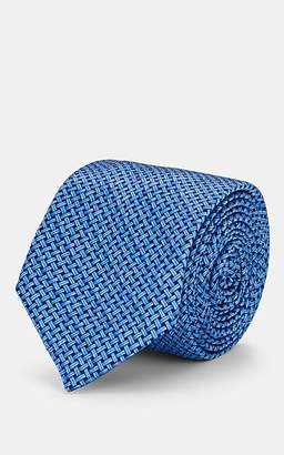 Barneys New York Men's Basketweave-Pattern Silk Necktie - Lt. Blue