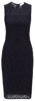 HUGO BOSS Sleeveless dress in cotton-blend floral lace