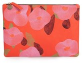 Clare Vivier Embroidered Poppy Leather Flat Clutch - Red