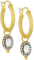 Freida Rothman Oval Aqua CZ Crystal Hoop Drop Earrings