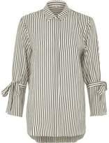 River Island Womens White mono stripe tie sleeve shirt