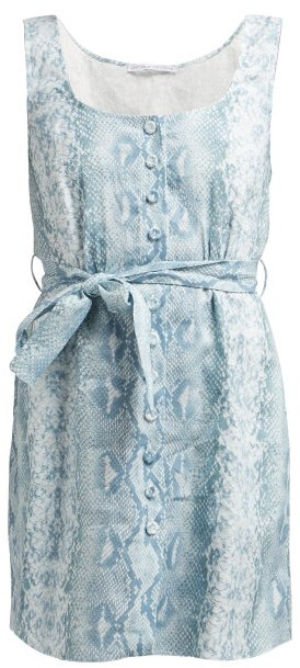 Emilia Wickstead Python Print Belted Linen Dress - Womens - Blue Print