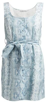 Emilia Wickstead Python-print Belted Linen Dress - Womens - Blue Print