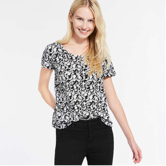 Joe Fresh Women's Print Tee, Black (Size XL)