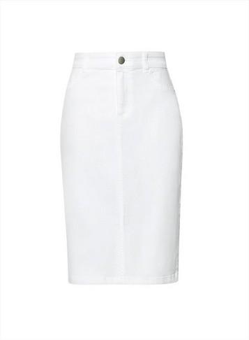Dorothy Perkins Womens White Denim Midi Skirt, White