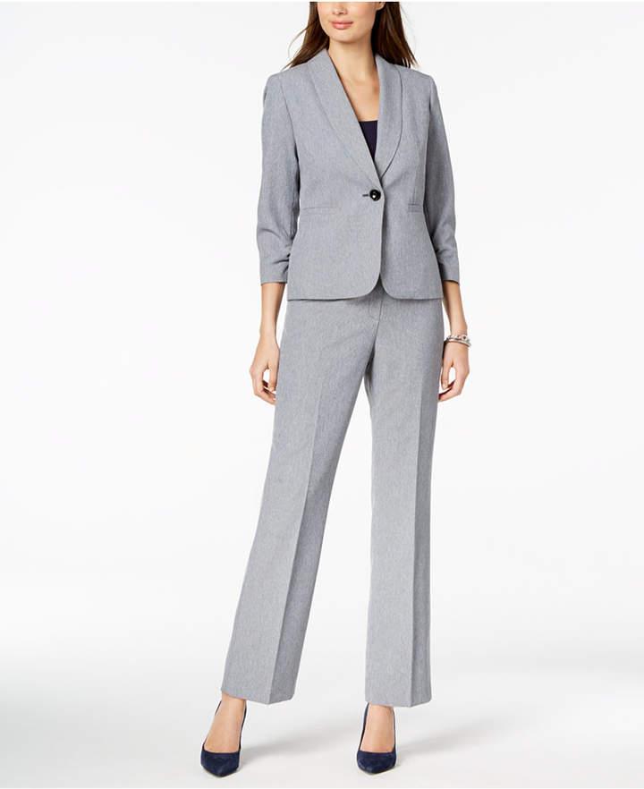 Le Suit Crosshatched One-Button Pantsuit