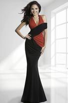 Janique - Two-Tone V-Neck Halter Ruched Evening Dress K6420
