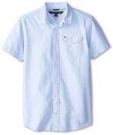 Tommy Hilfiger Short Sleeve Solid Oxford Shirt (Big Kids)