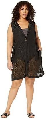 Dotti Plus Size Gypsy Gem Zip Front Hoodie Dress Cover-Up (Black) Women's Swimwear
