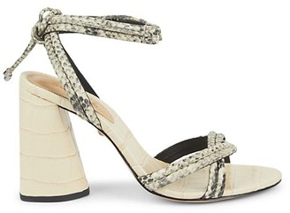 Schutz Gemma Ankle-Wrap Embossed Leather Sandals
