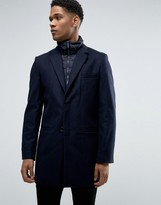 Celio Wool Overcoat With Quilted Inlay