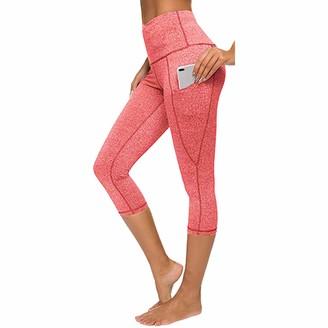 LAKOYA Women's High Waist Tight Elastic Quick Dry Solid Color Pocket Capris Seamless Yoga Pants Running Workout Gym Leggings Wine
