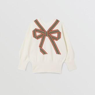 Burberry Childrens Icon Stripe Bow Merino Wool Silk Sweater Size: 10Y