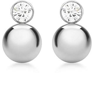 Carissima Gold 9ct White Gold Cubic Zirconia and Ball Drop Stud Earrings
