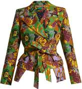 DURO OLOWU Floral-print peak-lapel textured-cloqué blazer